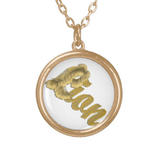 Lion - Furry Text Gold Plated Necklace