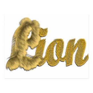 Lion - Furry Text Postcard