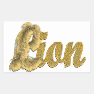 Lion - Furry Text Rectangular Sticker