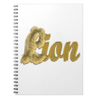 Lion - Furry Text Spiral Note Book