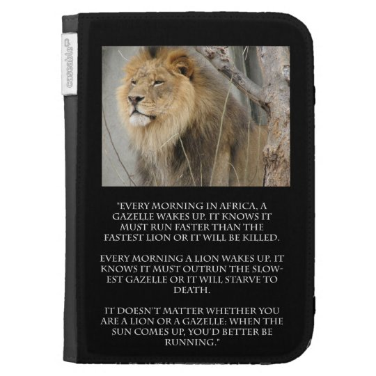 Lion Gazelle Running Quote Kindle Case