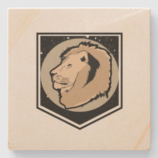 lion stone beverage coaster