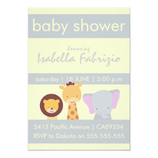 Lion Giraffe Elephant Yellow & Grey Baby Shower Card