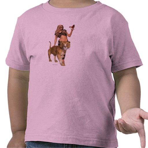Lion Girl Children's Retro T Shirt
