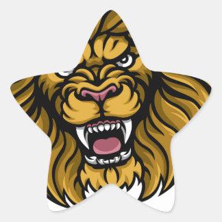 Lion Golf Ball Sports Mascot Star Sticker
