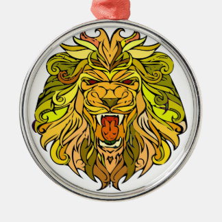 Lion graphic design metal ornament