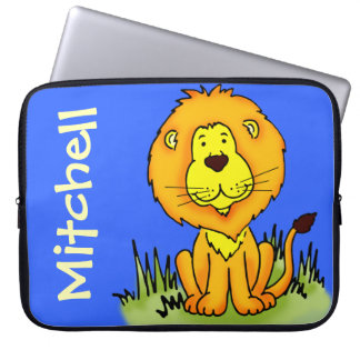 Lion graphic first name blue kids laptop case laptop sleeves