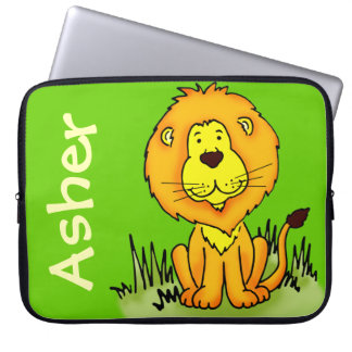Lion graphic first name green kids laptop case computer sleeves