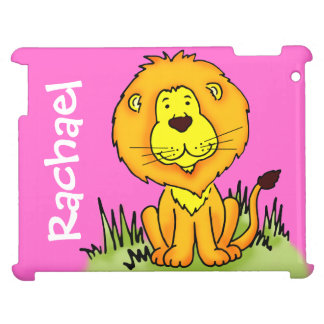 Lion graphic first name pink girls ipad case