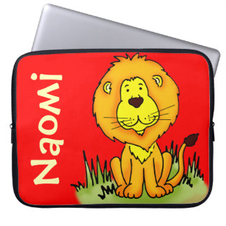 Lion graphic first name red kids laptop case computer sleeve
