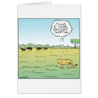 Lion Grocery Shopping Greeting Card
