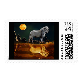 Lion guarding the night postage stamps