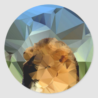 Lion Head African Theme Low Poly Classic Round Sticker