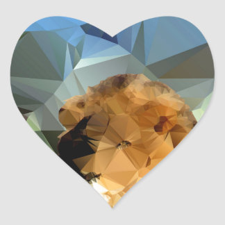 Lion Head African Theme Low Poly Heart Sticker