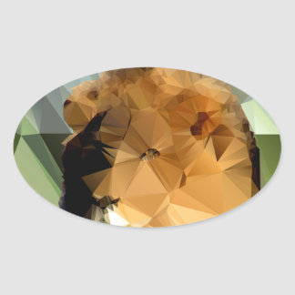 Lion Head African Theme Low Poly Oval Sticker