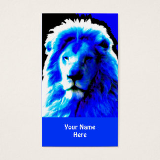 Lion Head Blue business card blue