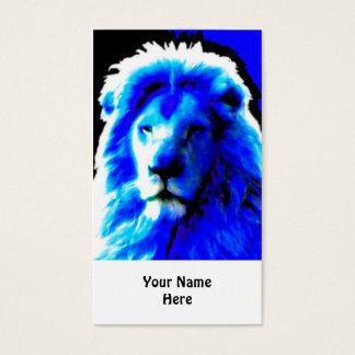 Lion Head Blue business card white