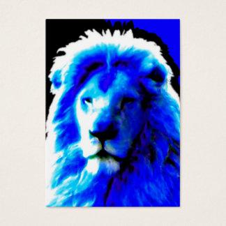 Lion Head Blue business card white chubby