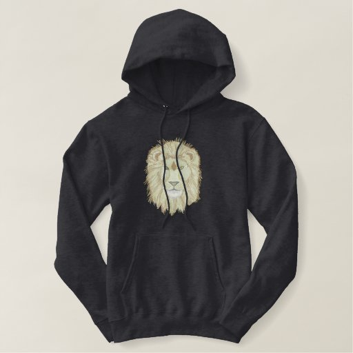 Lion Head Embroidered Hoodie