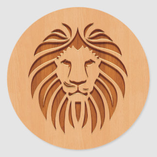 Lion head engraved on wood design classic round sticker