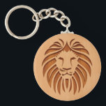 "Lion head engraved on wood design keychain<br><div class=""desc"">Lion head engraved on wood design.</div>"