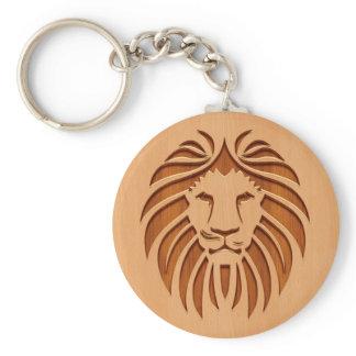 Lion head engraved on wood design keychain