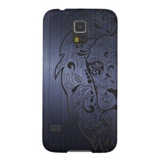 Lion Head Floral Sugar Skull On Dark Blue Galaxy S5 Case