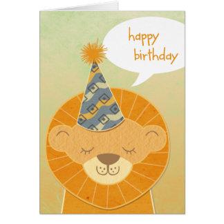 Lion Head Happy Birthday Card