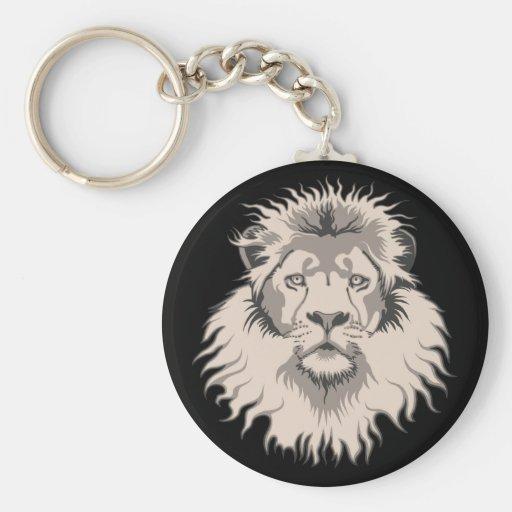 Lion Head Keyring Basic Round Button Keychain