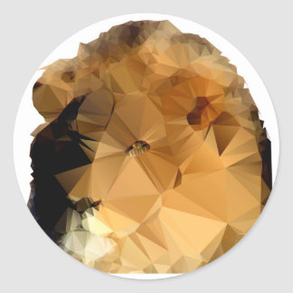 Lion Head  Low Poly Vector Style Classic Round Sticker