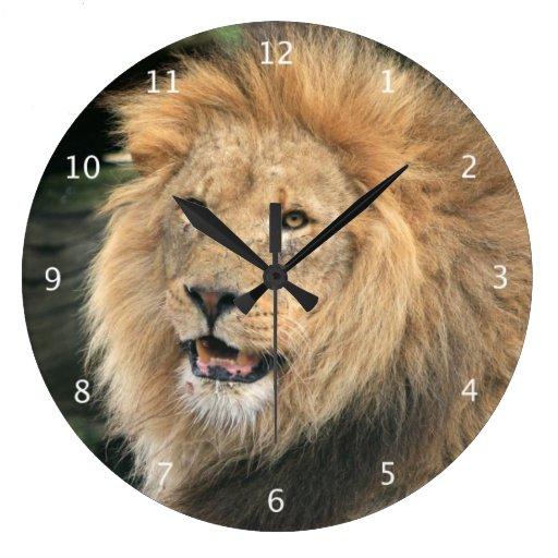 Lion Head Male Beautiful Photo Portrait Large Clock Zazzle