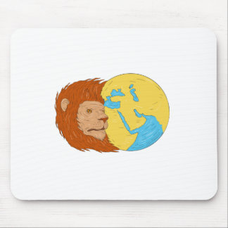 Lion Head Middle East Asia Map Globe Drawing Mouse Pad