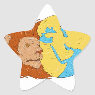 Lion Head Middle East Asia Map Globe Drawing Star Sticker