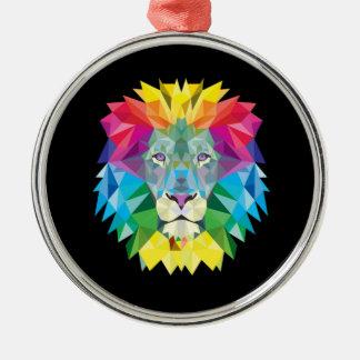 Lion Head on Black Metal Ornament