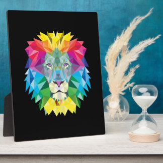 Lion Head on Black Plaque