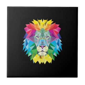 Lion Head on Black Tile