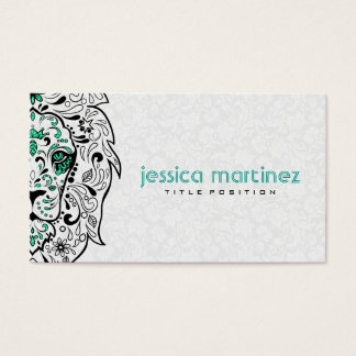 Lion Head Sugar Skull With White Damasks Business Card
