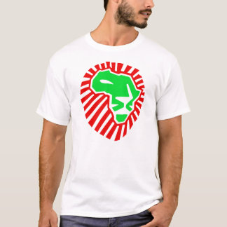 Lion Head This Time For Africa. Green Red T-Shirt