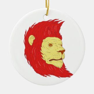 Lion Head With Flowing Mane Drawing Ceramic Ornament
