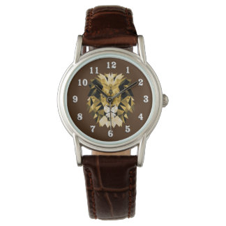 Lion Head with White Numbers Wrist Watches