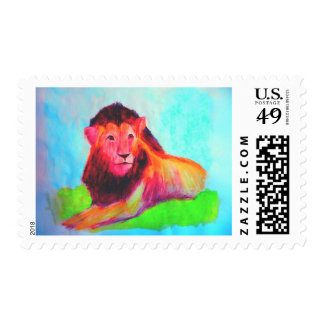 Lion Heart - Colorful Abstract Wild Animal Postage