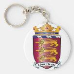 Lion Heart Crest Basic Round Button Keychain