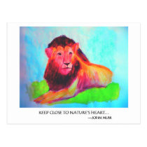 Lion Heart - Wild Animal Conservation John Muir Postcard