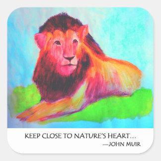 Lion Heart - Wild Animal Conservation John Muir Square Sticker