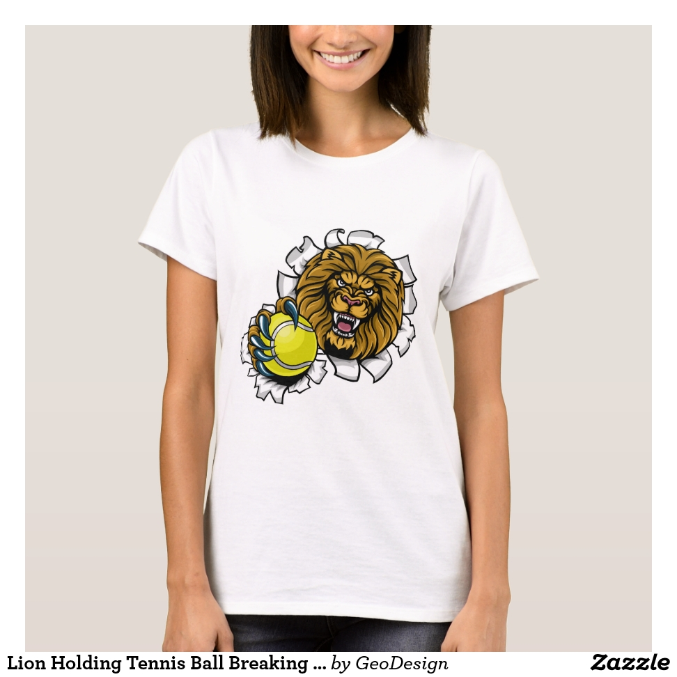 Lion Holding Tennis Ball Breaking Background T-Shirt - Best Selling Long-Sleeve Street Fashion Shirt Designs