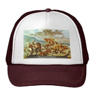 Lion Hunt By Eugène Ferdinand Victor Delacroix Trucker Hat
