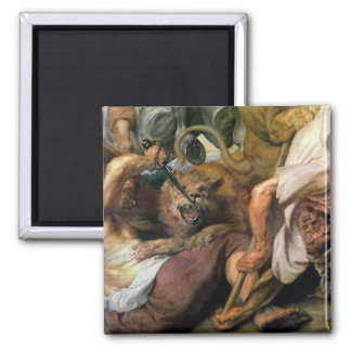 Lion Hunt, detail of two men and a lion, 1621 2 Inch Square Magnet