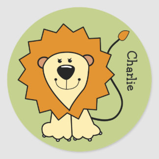 Lion illustration custom name kids' stickers