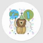 Lion I'm 1 First Birthday Round Stickers