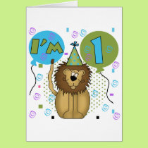 Lion I'm 1 First Birthday Tshirts and Gifts Card